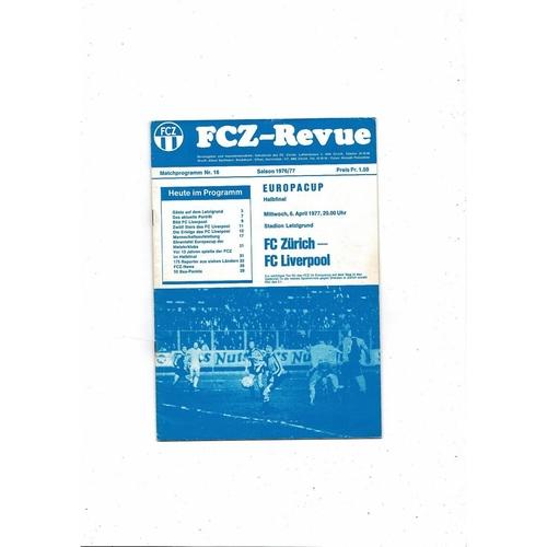 1976/77 Zurich v Liverpool European Cup Semi Final Football Programme