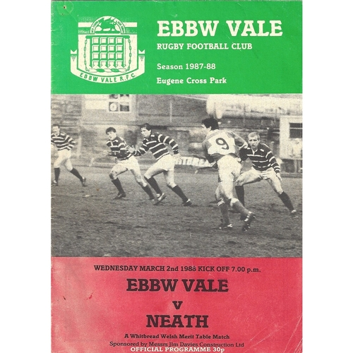 1987/88 Ebbw Vale v Neath Rugby Union Programme