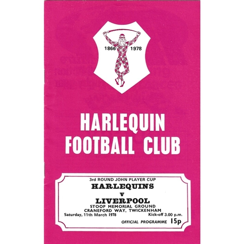 1977/78 Harlequins v Liverpool John Player Cup 3rd Round Rugby Union Programme