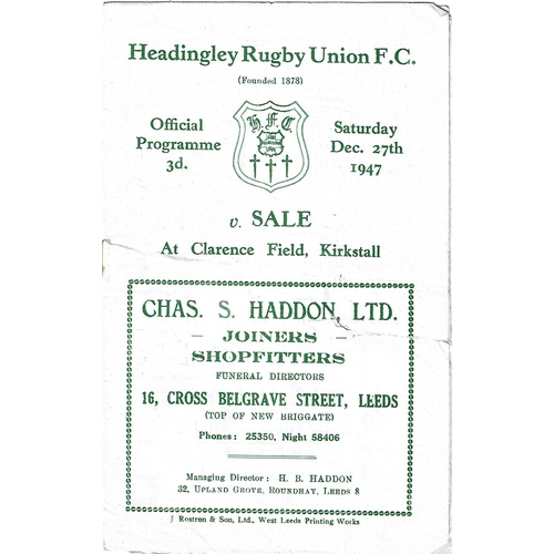 1947/48 Headingley v Sale Rugby Union Programme