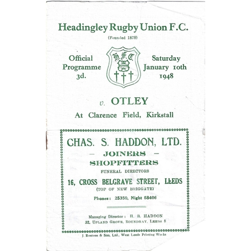 1947/48 Headingley v Otley Rugby Union Programme