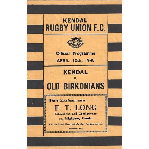 1947/48 Kendal v Old Birkonians Rugby Union Programme