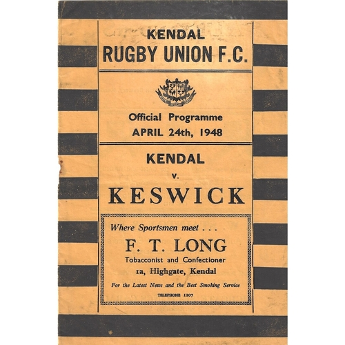 1947/48 Kendal v Keswick Rugby Union Programme
