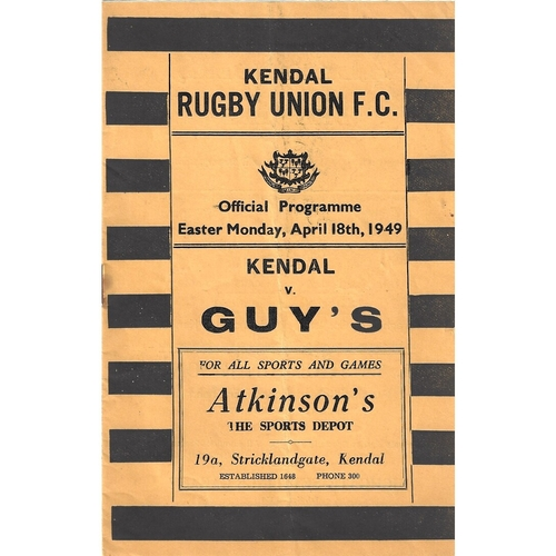 1948/49 Kendal v Guy's Rugby Union Programme