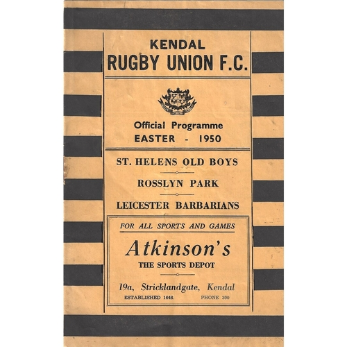1949/50 Kendal v St. Helens Old Boys/Rosslyn Park/Leicester Barbarians Rugby Union Programme