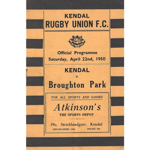 1949/50 Kendal v Broughton Park Rugby Union Programme