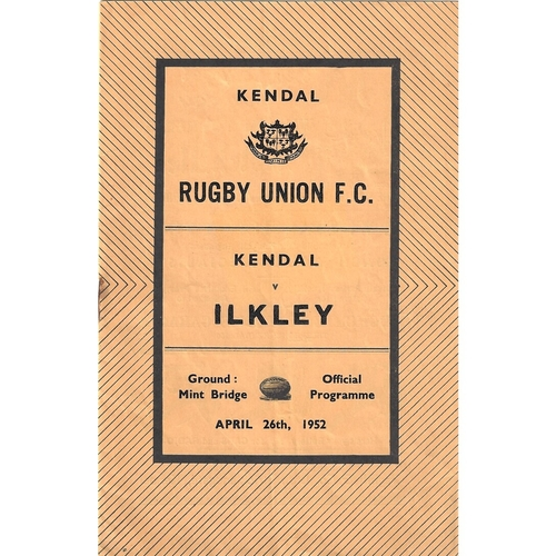 1951/52 Kendal v Ilkley Rugby Union Programme