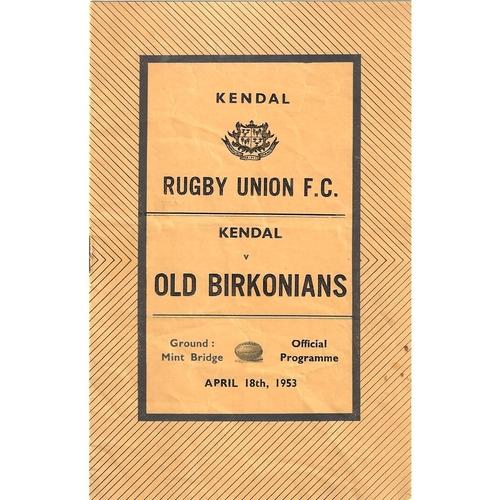 1952/53 Kendal v Old Birkonians Rugby Union Programme