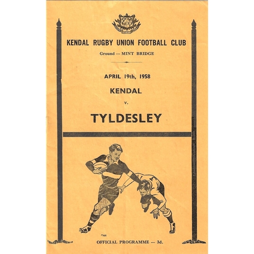 1957/58 Kendal v Tyldesley Rugby Union Programme