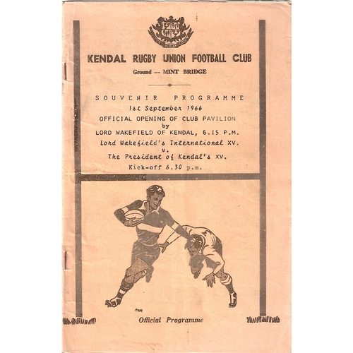 1966/67 Lord Wakefield's International XV v The President of Kendal's XV Rugby Union Programme