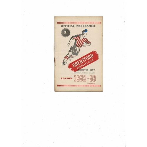 1952/53 Brentford v Leicester City Football Programme