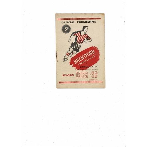 1952/53 Brentford v Lincoln City Football Programme