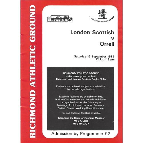 1986/87 London Scottish v Orrell Rugby Union Programme