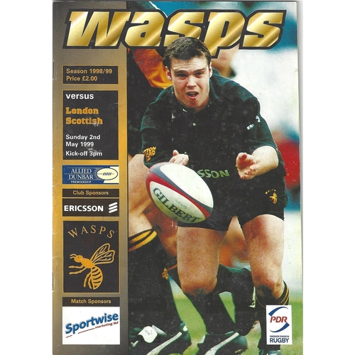 1998/99 London Wasps v London Scottish Rugby Union Programme