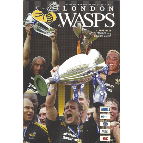 2003/04 London Wasps v Leeds Tykes Rugby Union Programme