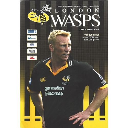 2003/04 London Wasps v London Irish Rugby Union Programme