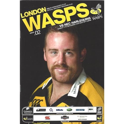 2006/07 London Wasps v NEC Harlequins Rugby Union Programme
