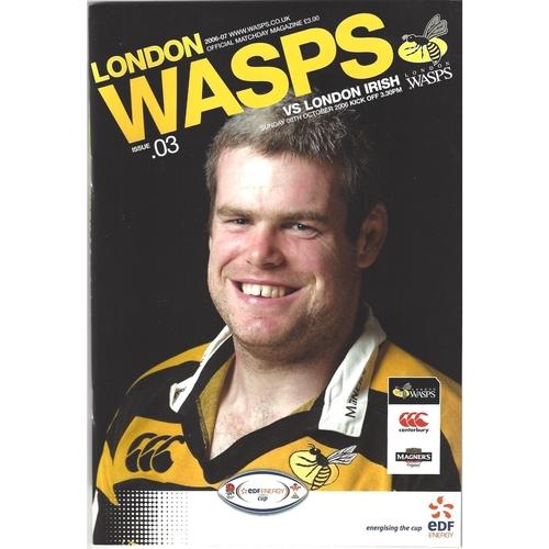 2006/07 London Wasps v London Irish EDF Energy Cup Pool Match Rugby Union Programme