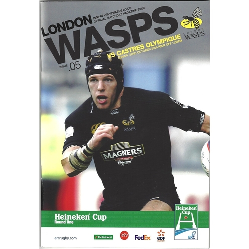2006/07 London Wasps v Castres Olympique Heineken Cup 1st Round Rugby Union Programme