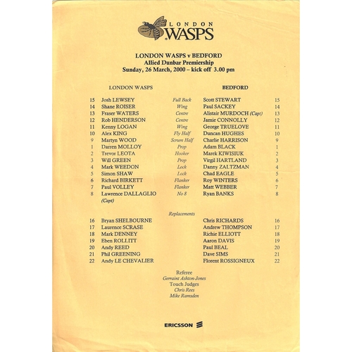 1999/00 London Wasps v Bedford Rugby Union Team Sheet