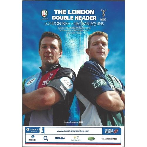 2004/05 London Irish v NEC Harlequins/Saracens v London Wasps (London double header) Rugby Union Programme