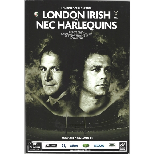 2006/07 London Irish v NEC Harlequins/Saracens v London Wasps (London double header) Rugby Union Programme