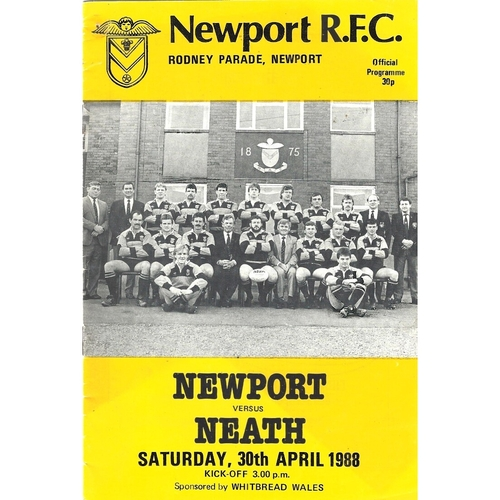 1987/88 Newport v Neath Rugby Union Programme