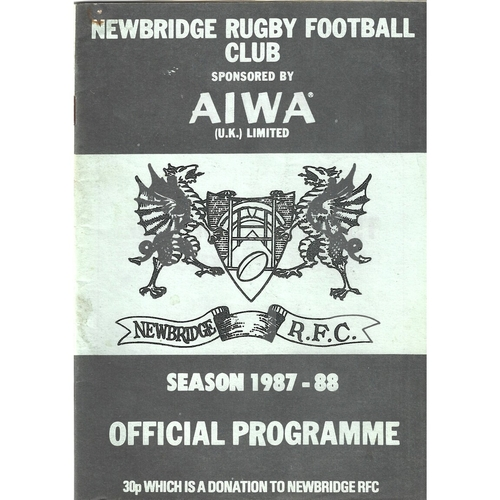 1987/88 Newbridge v Neath Rugby Union Programme