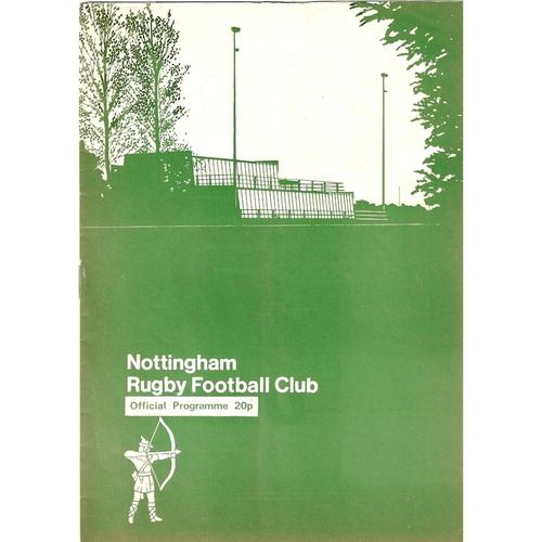 1979/80 Nottingham v Fylde Rugby Union Programme