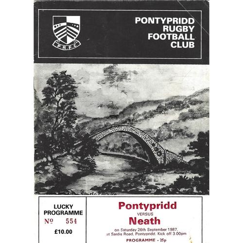 1987/88 Pontypridd v Neath Rugby Union Programme
