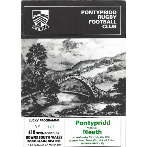 1988/89 Pontypridd v Neath Rugby Union Programme
