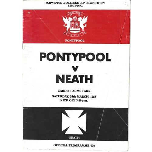 1987/88 Pontypool v Neath WRU Challenge Cup Semi Final Rugby Union Programme
