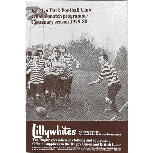 1979/80 Rosslyn Park v Gosforth Rugby Union Programme