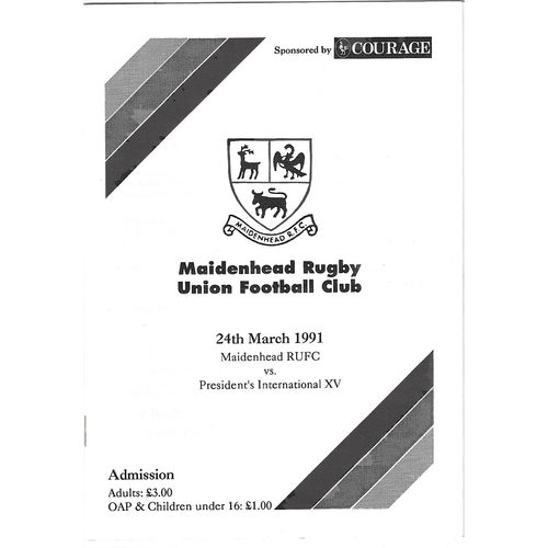 Maidenhead Home Rugby Union Programmes