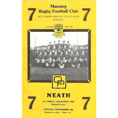 1987/88 Maesteg v Neath Rugby Union Programme