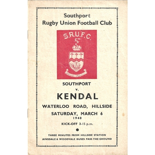 1947/48 Southport v Kendal Rugby Union Programme