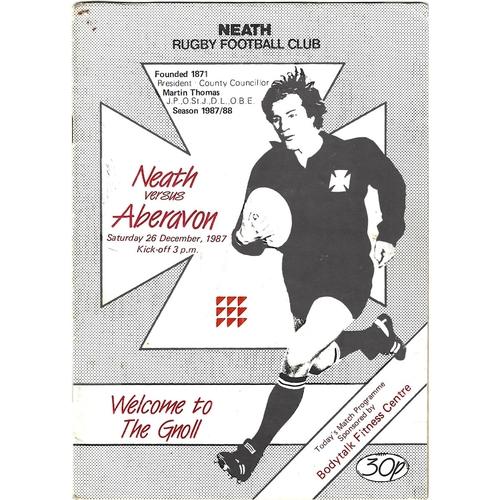 1987/88 Neath v Aberavon Rugby Union Programme