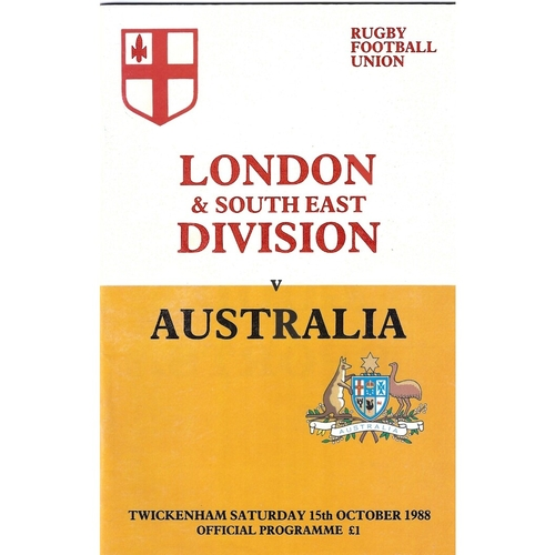 1988/89 London & South East Division v Australia Tour Match Rugby Union Programme