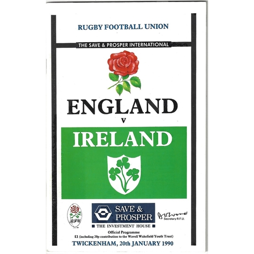 1990 England v Ireland 5 Nations Rugby Union Programme