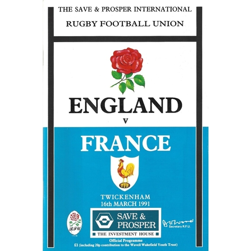 1991 England v France 5 Nations Rugby Union Programme