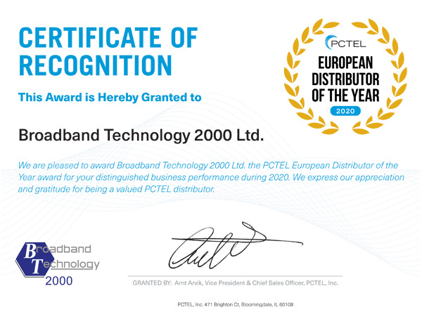 BT2000 Awarded European Distributor of the Year 2020 by PCTEL Inc.