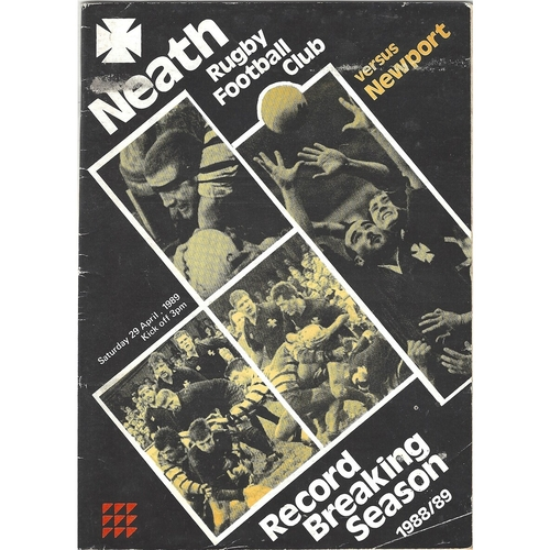 1988/89 Neath v Newport Rugby Union Programme
