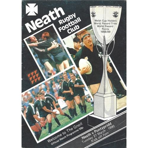 1989/90 Neath v Pontypridd Rugby Union Programme