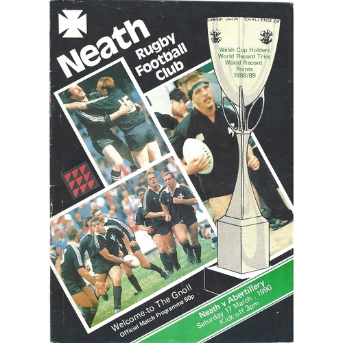 1989/90 Neath v Abertillery Rugby Union Programme