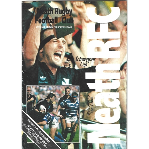 1990/91 Neath v Newport WRU Schweppes Cup 5th Round Rugby Union Programme