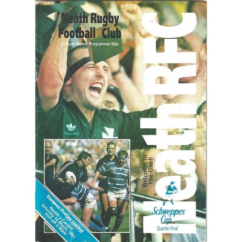 1990/91 Neath v Cardiff WRU Schweppes Cup Quarter Final Rugby Union Programme