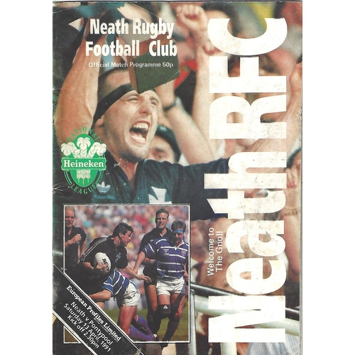 Neath Home Rugby Union Programmes