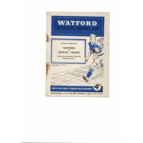 1952/53 Watford v Crystal Palace Football Programme