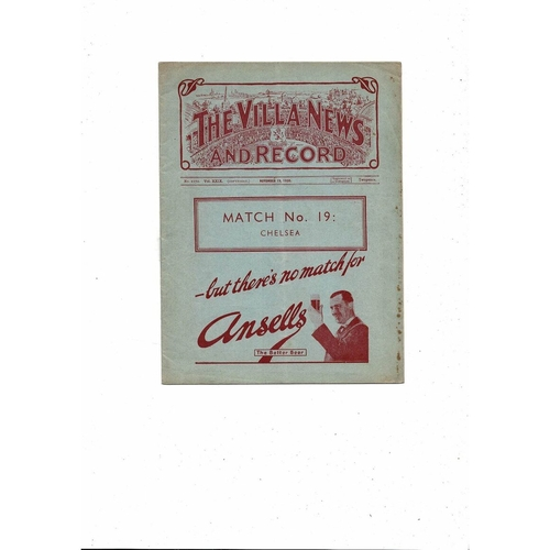 1938/39 Aston Villa v Chelsea Football Programme