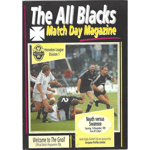 1991/92 Neath v Swansea Rugby Union Programme
